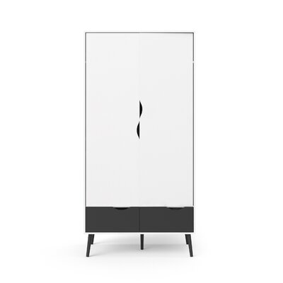 Mateer 2 Drawer and 2 Door Armoire Finish: White/Black Matte