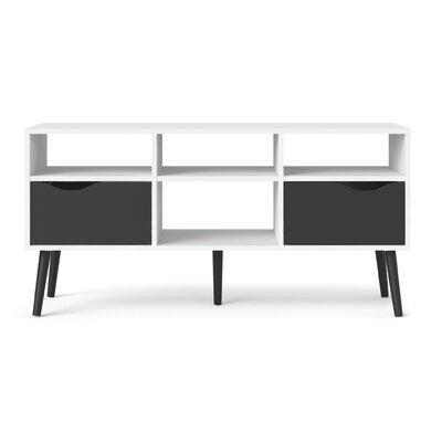 Mateer 46 TV Stand Color: White/Black Matte