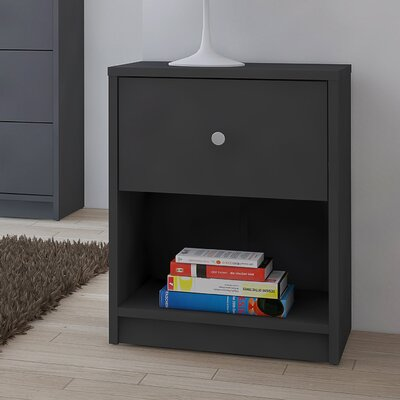 Conder 1 Drawer Nightstand Color: Silver