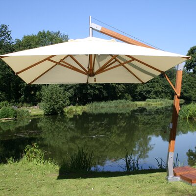 10 Sidewind Square Cantilever Umbrella Fabric: Ecru