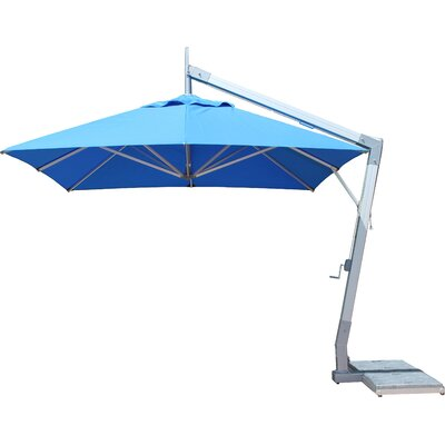 10 Side Wind Hurricane Square Cantilever Umbrella Fabric: Blue