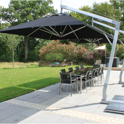 10 Side Wind Hurricane Square Cantilever Umbrella Fabric: Black