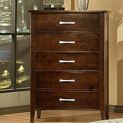 Firefly 5 Drawer Chest Finish: Chocolate