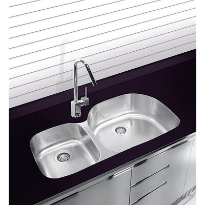 38 x 17.75 Undermount Double Bowl Stainless Steel Kitchen Sink
