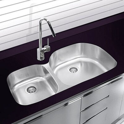 20.75 x 37.625 Undermount Double Bowl Stainless Steel Kitchen Sink