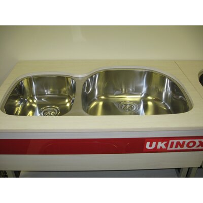 38 x 20.75 Double Bowl Undermount Kitchen Sink Drain Location: Right