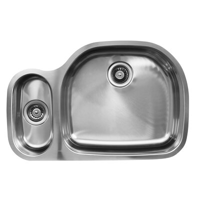 31.5 x 20.75 x 10 Double Bowl Undermount Kitchen Sink Drain Location: Right