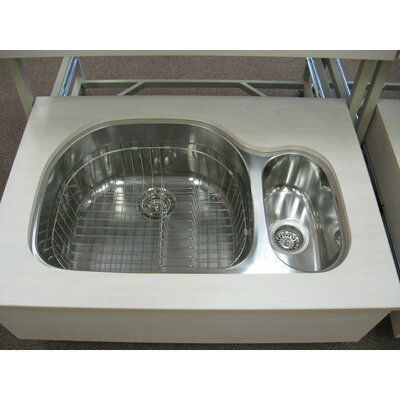 31.5 x 20.75 x 10 Double Bowl Undermount Kitchen Sink Drain Location: Left