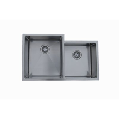 33.5 x 20.5 Micro Series Double Bowl Undermount Kitchen Sink Drain Location: Left