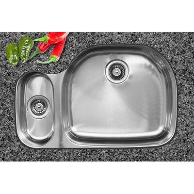 32.5 x 20.75 x 10 Double Bowl Undermount Kitchen Sink Drain Location: Right