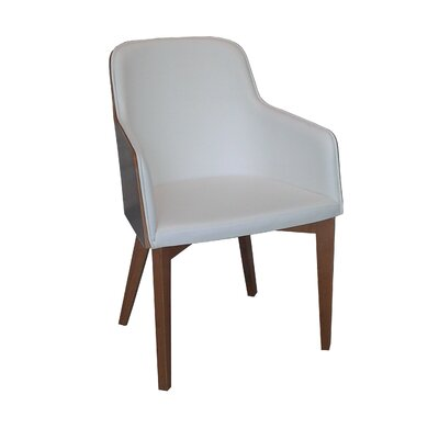 Hudson Arm Chair with Wood Legs in Wool - Beige