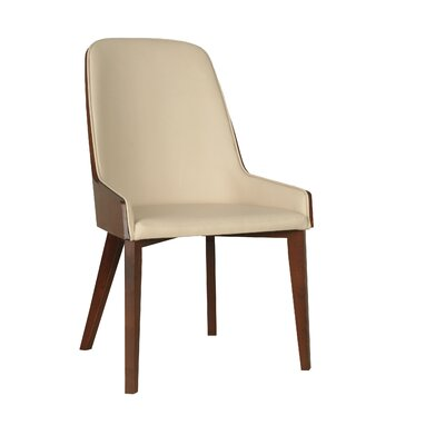 Hudson Side Chair with Wood Legs Upholstery: Eco-leather - Black