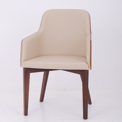 Hudson Arm Chair with Wood Legs Upholstery: Eco-leather - Cream
