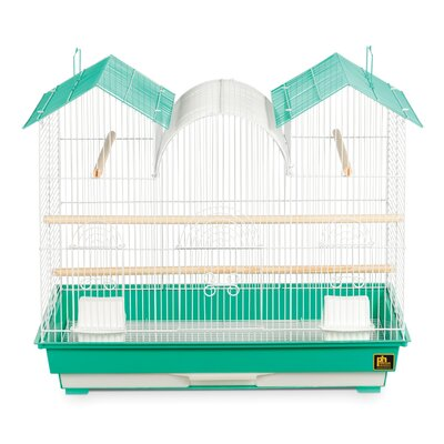 Triple Roof Bird Cage Color: Green and White
