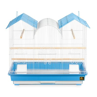 Triple Roof Bird Cage Color: Blue and White