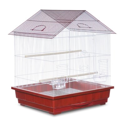 Offset Roof Cockatiel  Bird Cage Color: Red and White