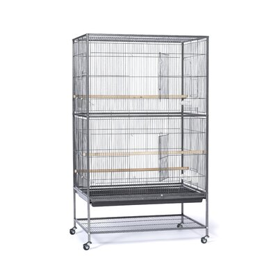 Flight Bird Cage with Storage Shelf Color: Black