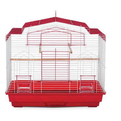 Barn Bird Cage with Food Access Door Color: Red