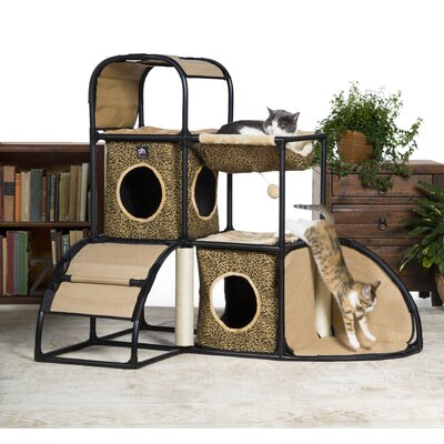 42.5 Catville Townhome Leopard Print Cat Tree and Condo