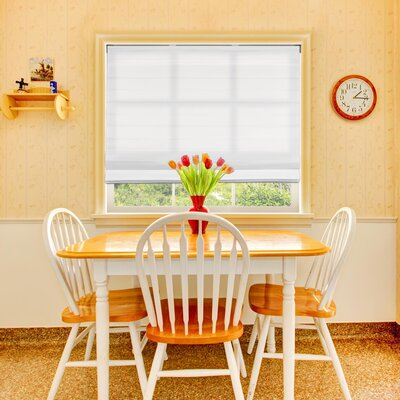 Johanna Light Filtering Cordless Fabric Roman Shade Color: Cloud White, Size: 35.5 W X 60 L