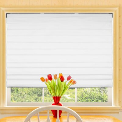 Marvin Blackout Cordless Fabric Roman Shade Color: Cloud White, Size: 35.5 W X 60 L