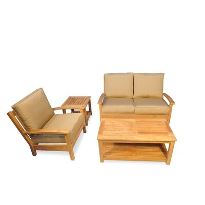 4 Piece Teak Deep Seating Group with Cushion Fabric: Heather Beige