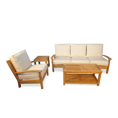 4 Piece Teak Deep Seating Group with Cushion Fabric: Canvas
