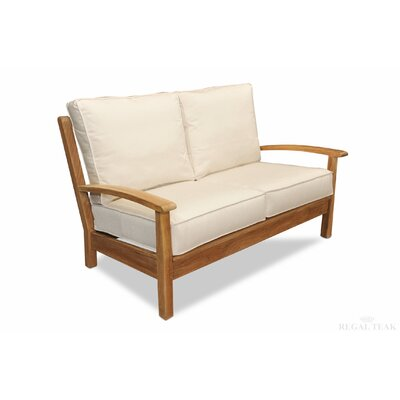 Teak Deep Seating Love Seat with Cushions Fabric: White