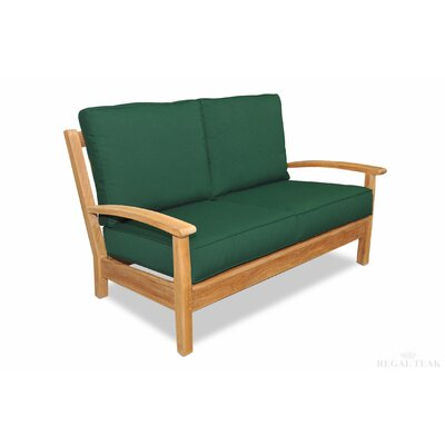Teak Deep Seating Love Seat with Cushions Fabric: Forest Green