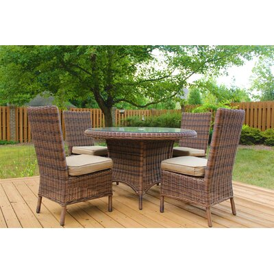 Del Ray 5 Piece Dining Set with Cushion Fabric: Canvas