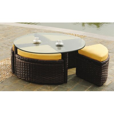 St Tropez Round Sushi Table with Ottomans Fabric: Cornsilk, Finish: Espresso