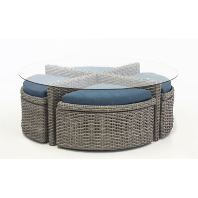 St Tropez Round Sushi Table with Ottomans Fabric: Aquamarine, Finish: Espresso