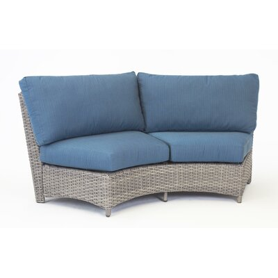St Tropez Curved Loveseat with Cushion Fabric: Aquamarine, Finish: Espresso