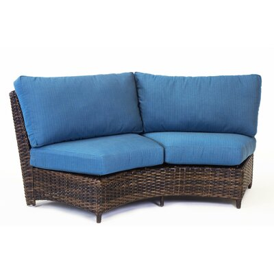 St Tropez Curved Loveseat with Cushion Fabric: Pool, Finish: Espresso