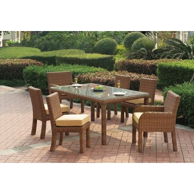Java 7 Piece Dining Set with Cushion Fabric: Cayenne