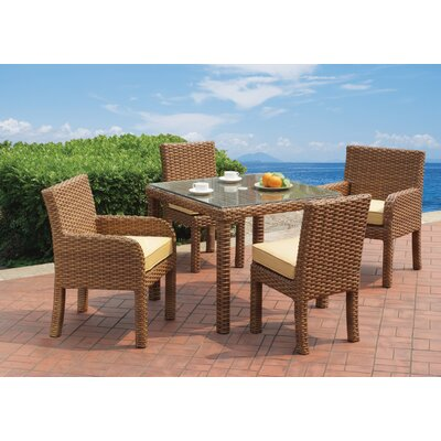 Java 5 Piece Dining Set with Cushion Fabric: Sand