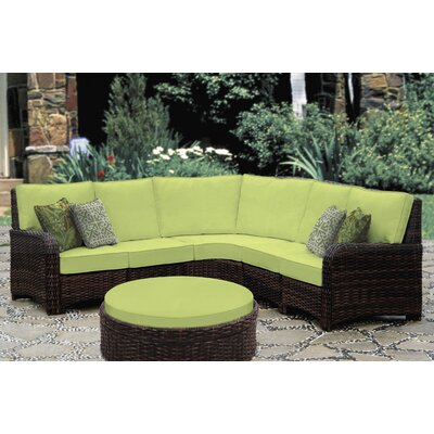 St Tropez 5 Piece Sectional with Cushion Fabric: Aquamarine