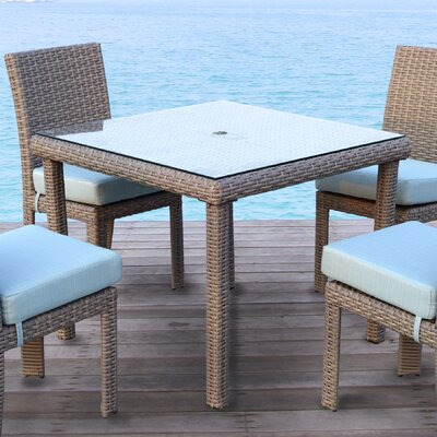St Tropez 5 Piece Dining Set with Cushion Finish: Espresso, Fabric: Aquamarine