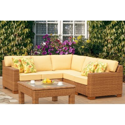 Java 5 Piece Sectional with Cushion Fabric: Cayenne