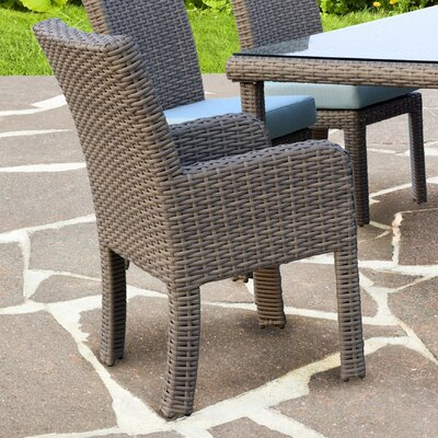 St Tropez 7 Piece Dining Set with Cushion Fabric: Aquamarine, Finish: Espresso