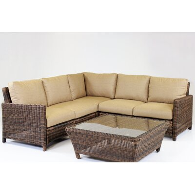 Del Ray 5 Piece Sectional with Cushion Fabric: Aquamarine