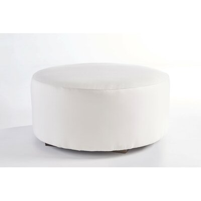Cocktail Ottoman Fabric: Cornsilk, Leg Finish: Coffee