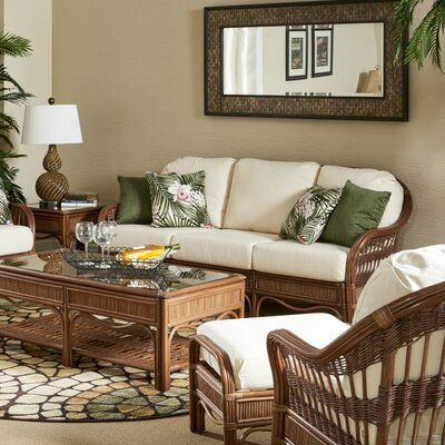Bermuda Sofa Finish: Pecan, Upholstery: Sachi Pool