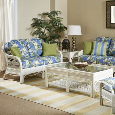 Bermuda Loveseat Upholstery: Dening Greige Natural, Finish: Whitewash