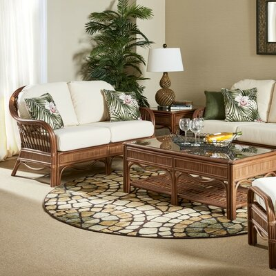Bermuda Loveseat Upholstery: Dening Greige Natural, Finish: Pecan