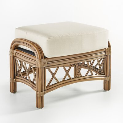 Nadine Ariel Sunset Ottoman Finish: Cinnamon, Upholstery: Yellow Chrevon