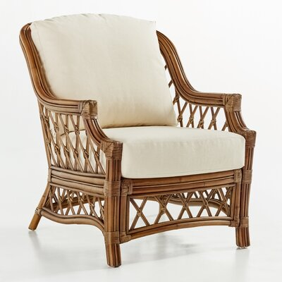 Nadine Armchair Finish: Cinnamon, Upholstery: Dening Greige Natural Solid