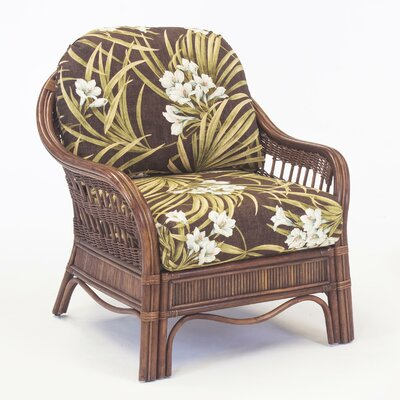 Bermuda Armchair Finish: Whitewash, Upholstery: Green/Yellow Striped