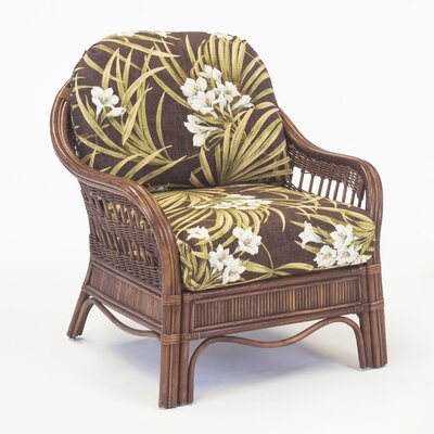 Bermuda Armchair Color: Sachi Pool, Finish: Pecan