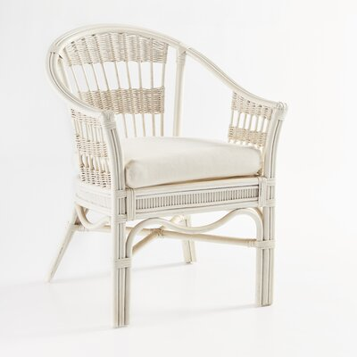 Bermuda Arm Chair Upholstery: Jasmine Antique Stripe, Finish: Whitewash
